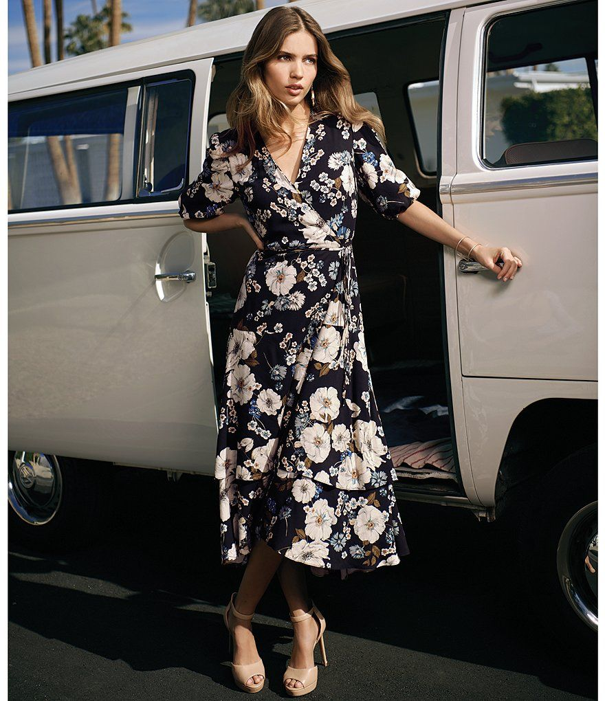 30e48d4dce8 Gianni Bini Piper Floral Print Midi Length Wrap Dress in 2019 ...