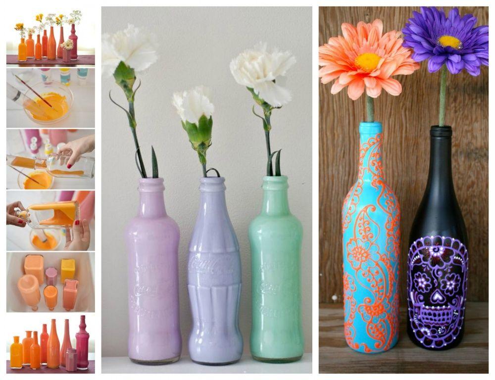 Diy botellas botellas frascos y latas decoradas - Manualidades con botellas de cristal ...