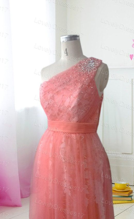 Appliques Lace Light Coral Aline Oneshoulder by LovelyDresses17
