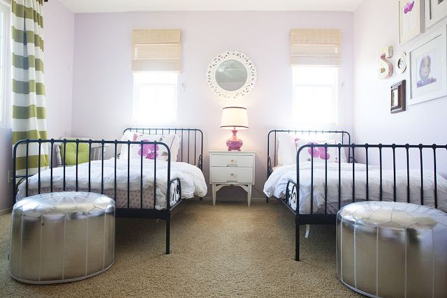 shared girls room with ikea minnen beds and moroccan pouffes - Ikea Shared Kids Room