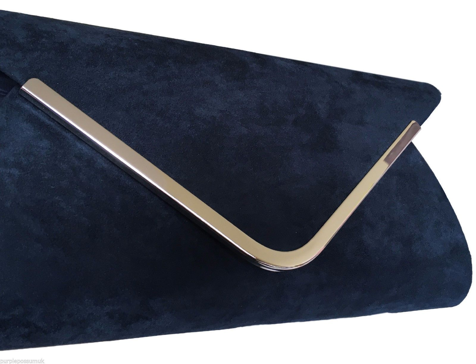 Navy Clutch Bag Dark Blue Faux Suede Evening Bag Prom