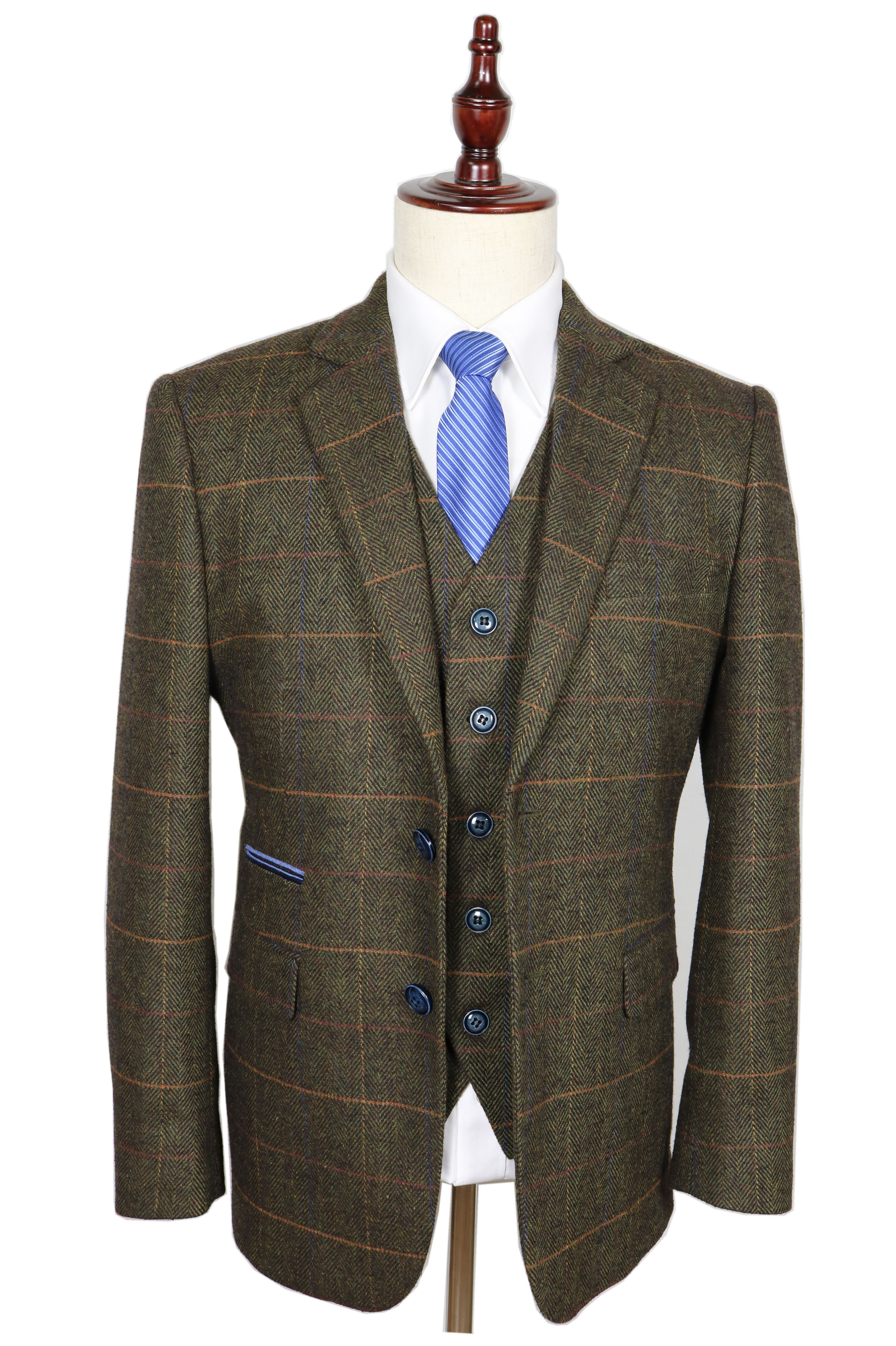 Elegant Men Suits Italy Men Suits Men Suits Wedding Luxury Vintage Slim Fit Suits For Men Wool Brown Checkered Tweed Mens Suits Slim Fit Suits Mens Suit Jacket