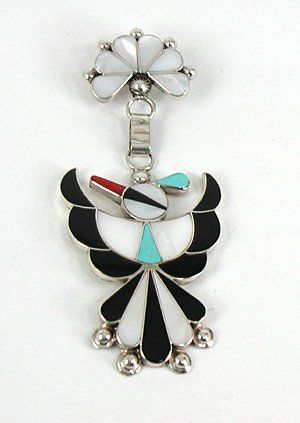 Authentic Native American Zuni Indian Sterling Silver and stone inlay Thunderbird pin pendant by Leagus Ahiyite