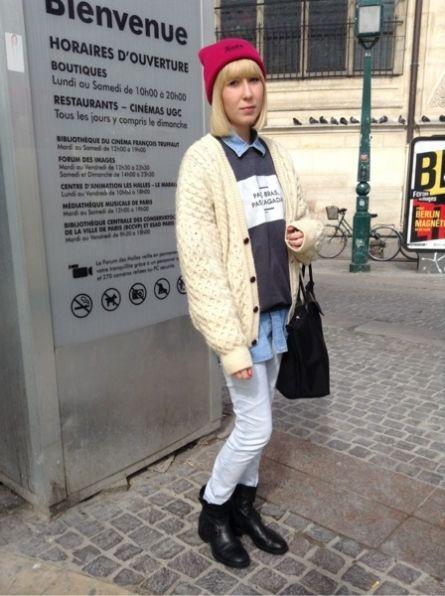 TEALER Bonnet, chapka - RAD Pull, Sweat - # VINTAGE # Gilet  MINELLI Boots, bottes, bottines  http://www.moodlook.com/look/2014-03-18-france-paris