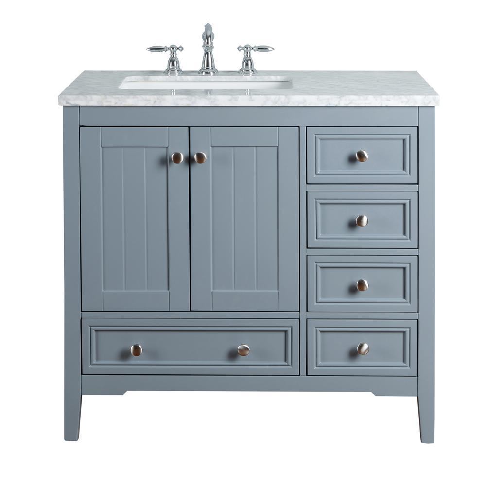 Stufurhome New Yorker 36 In Grey Single Sink Bathroom Vanity With Marble Vanity Top And White Basin Single Bathroom Vanity Single Sink Vanity Bathroom Sink Vanity