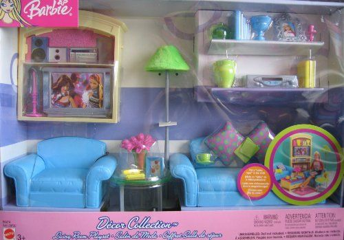 Barbie S Exclusively Designed Living Room Has A Fresh Look And Comfortable Furnishings This Adorable Playset