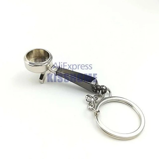 Coffee Accessories Keychain Ring Keyring Gift for Coffee Lover Tamper S