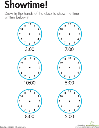 Telling Time Showtime Worksheet Education Com Telling Time Telling Time Worksheets Time Worksheets