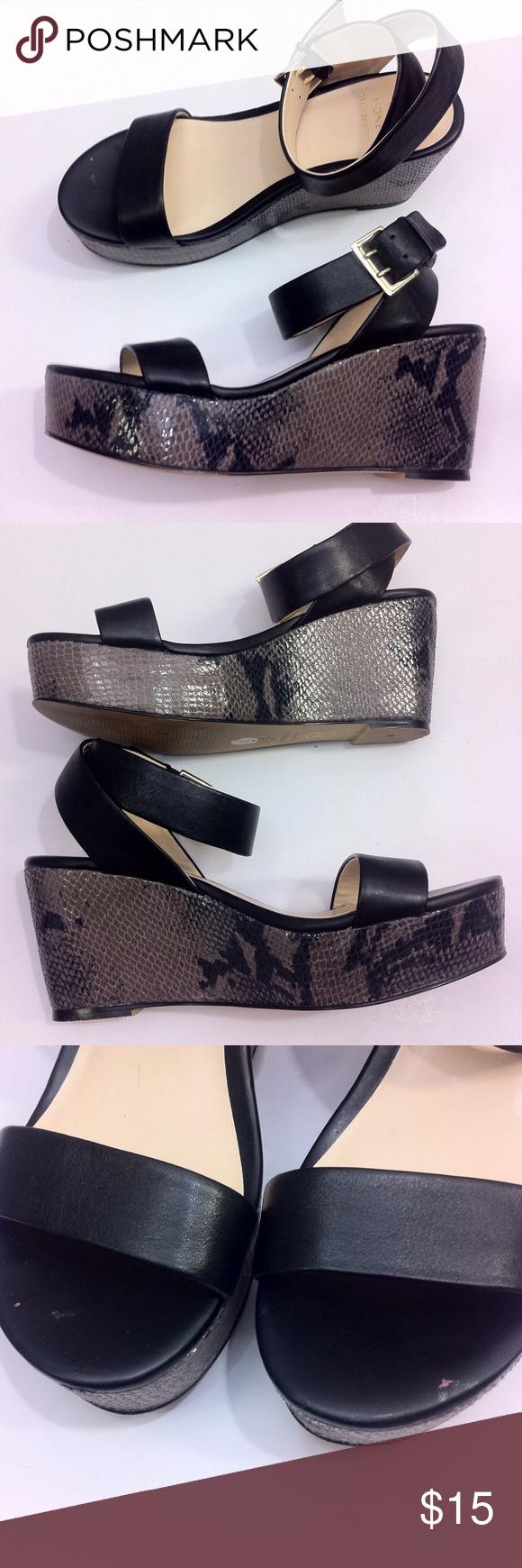0a49cd5cccc6 Monet black leather strap wedge platform sandals 6 Monet designed in Italy Platform  wedge sandals -