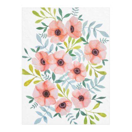 Modern Watercolor Floral Design Fleece Blanket Flower Gifts Floral Flowers Diy Flower Illustration Floral Watercolor Floral Illustrations
