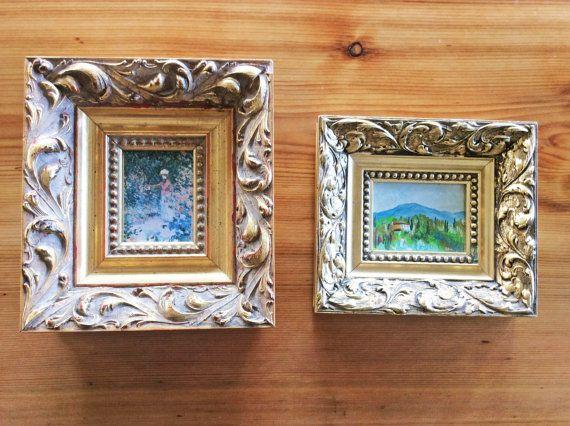 Fancy Gold Frames. Vintage Ornate Gilded Wood Frames. Small, Thick ...