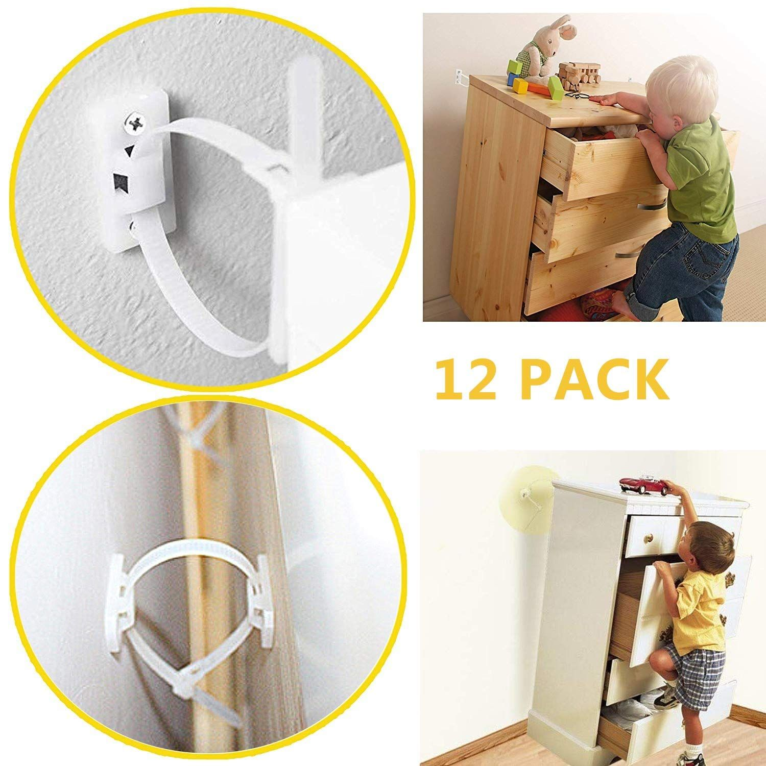 Furniture Straps Baby Proofing Anti Tip Walls 12 Pack Proofing Anti Tilt Furniture Anchors Kit Adjustable C Furniture Straps Furniture Anchors Baby Proofing
