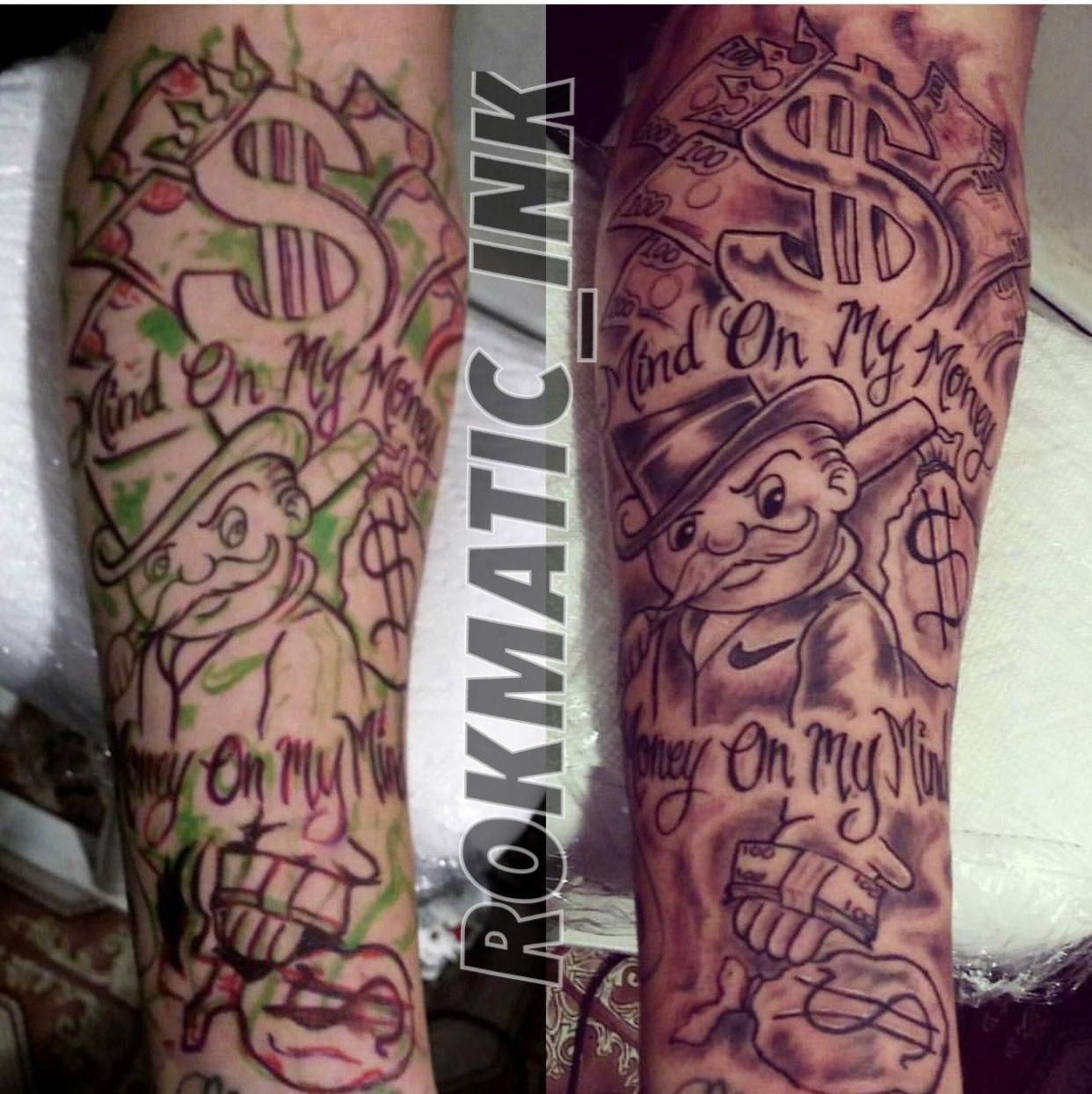 Monopoly Tattoo Done By Rokmatic Ink Maoritattoos Money Tattoo Tattoos For Guys Stylist Tattoos