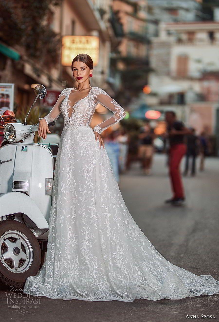 aedd7338c52c anna sposa 2019 bridal long sleeves deep v neck full embellishment elegant  a line wedding dress low v back chapel train (17) mv -- Anna Sposa 2019  Wedding ...