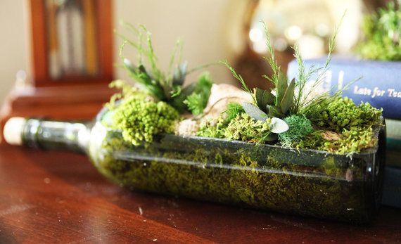 Planted Wine Bottle, Planter, Indoor Moss Garden. Real Preserved Plants,  Zero Care