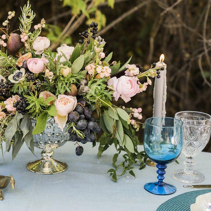 mercury glass centerpiece - blush, navy, grapes, figs. www.bellacalla.com - Bella Calla - Denver Vail Aspen Florist