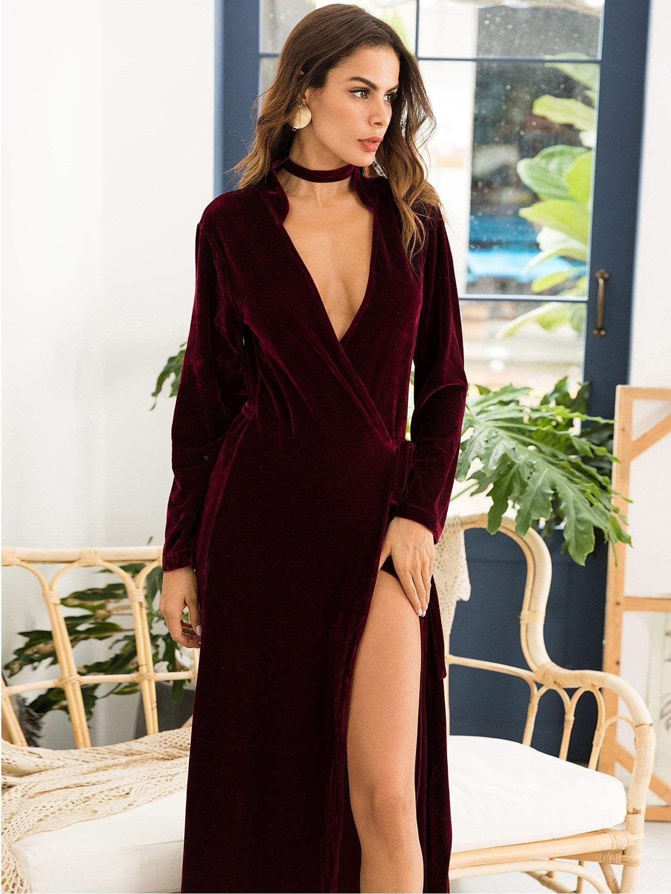 High split velvet wrap party maxi dress maxi dress party