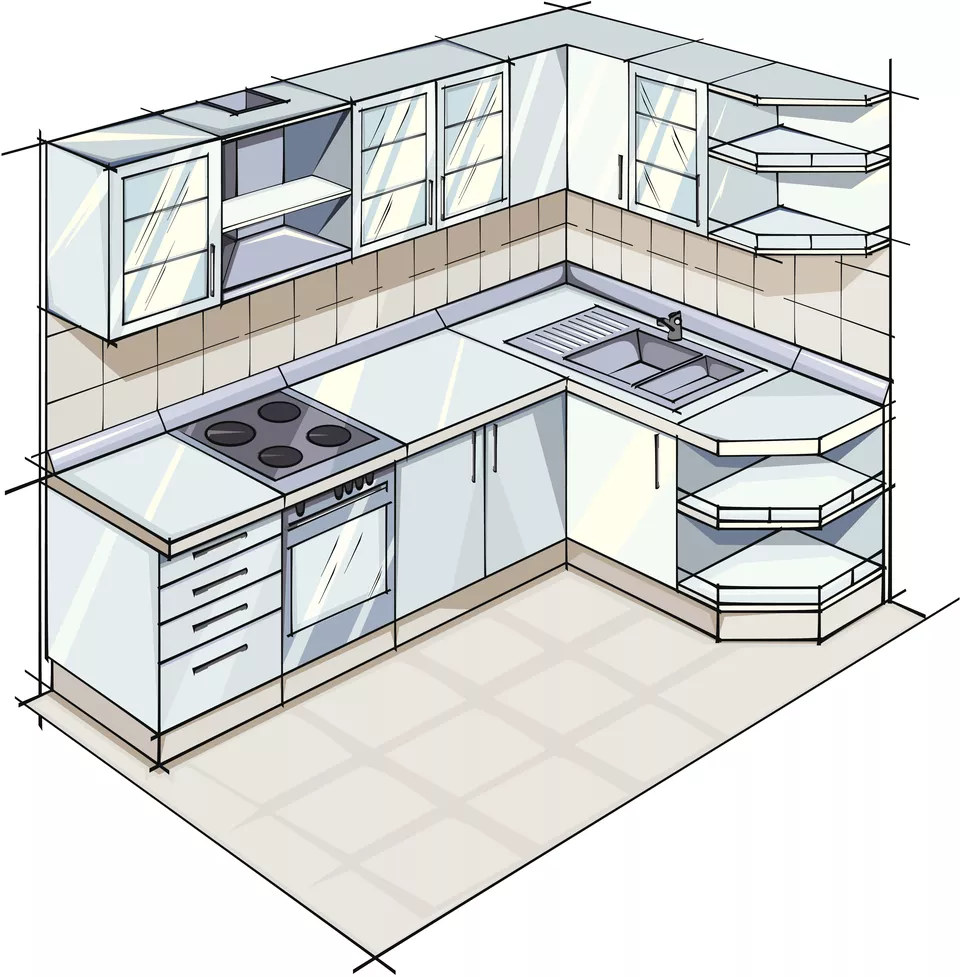9 Examples of L Shaped Kitchen Layouts   Small kitchen plans ...