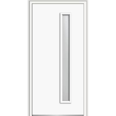Mmi Door 30 In X 80 In Viola Left Hand Inswing 1 Lite Frosted Modern Painted Steel Prehung Front Door On 4 9 16 In Frame Brilliant White Entry Doors Wood Exterior Door Prehung Doors