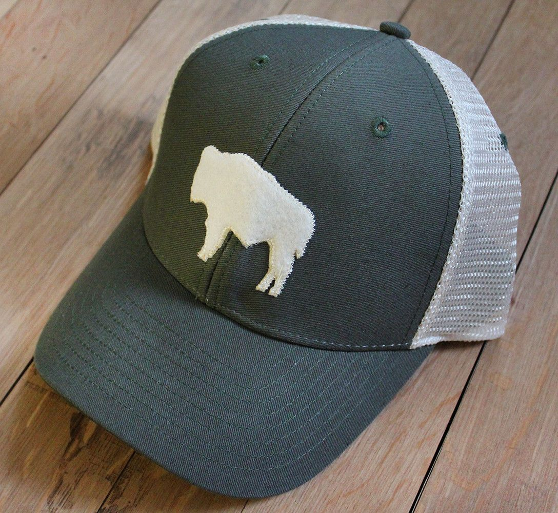 Wyoming Buffalo Mesh Hat in Green/White | Clothes | Hats