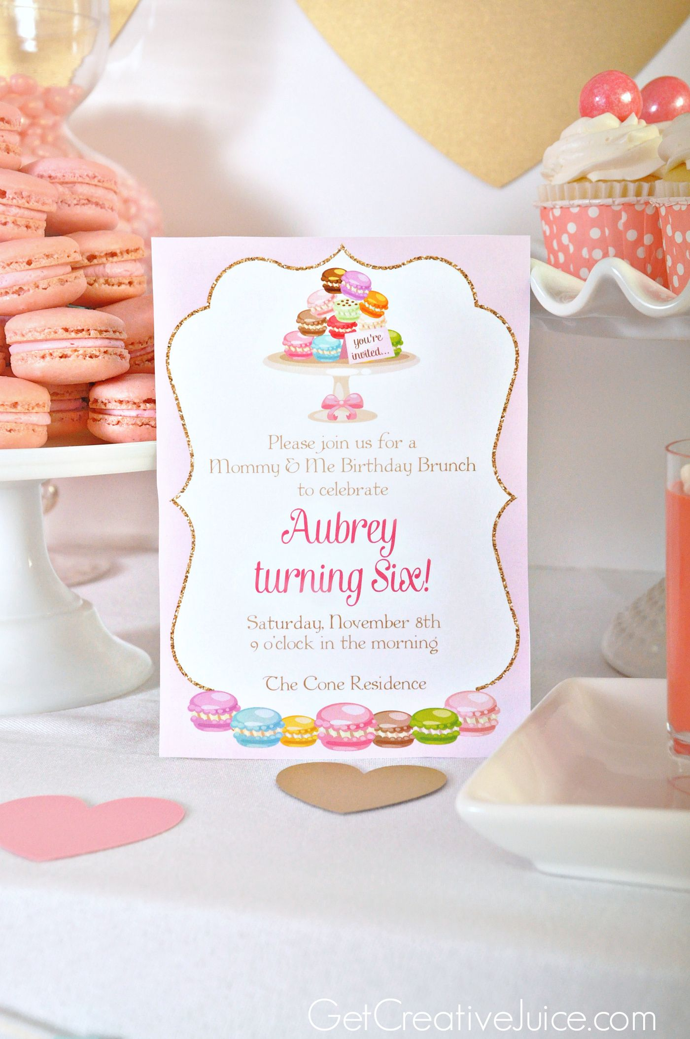 Aubrey is 6! Pink & Gold Macaron Party Gold macarons