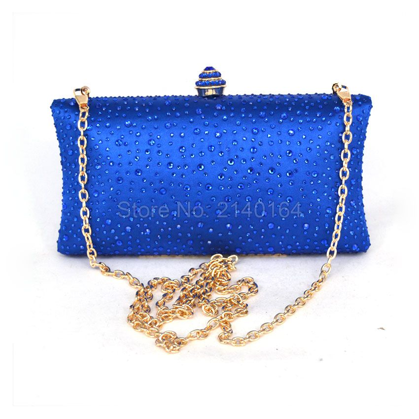 Factory Whole Er Clutch Chain Evening Bag Sky Blue Crystal Banquet Party Purse Bridal Lovely Clutches