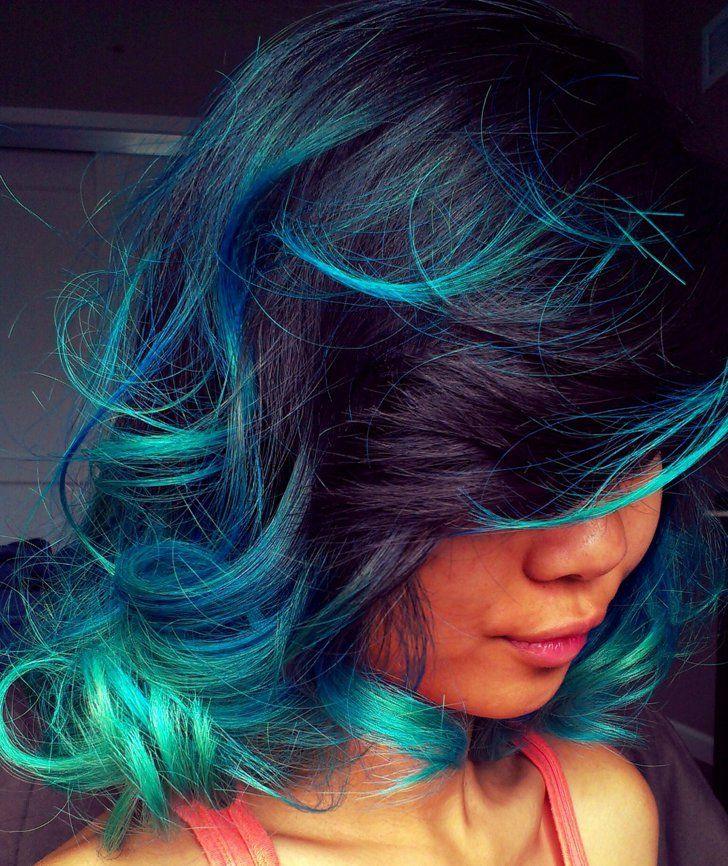 Aquatic Curls Bright Hair Hair Styles Blue Hair