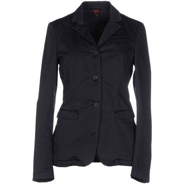 Dondup Blazer ($300) ❤ liked on Polyvore featuring outerwear, jackets, blazers, dark blue, blazer jacket, dark blue jacket, dark blue blazer, cotton jacket and logo jackets