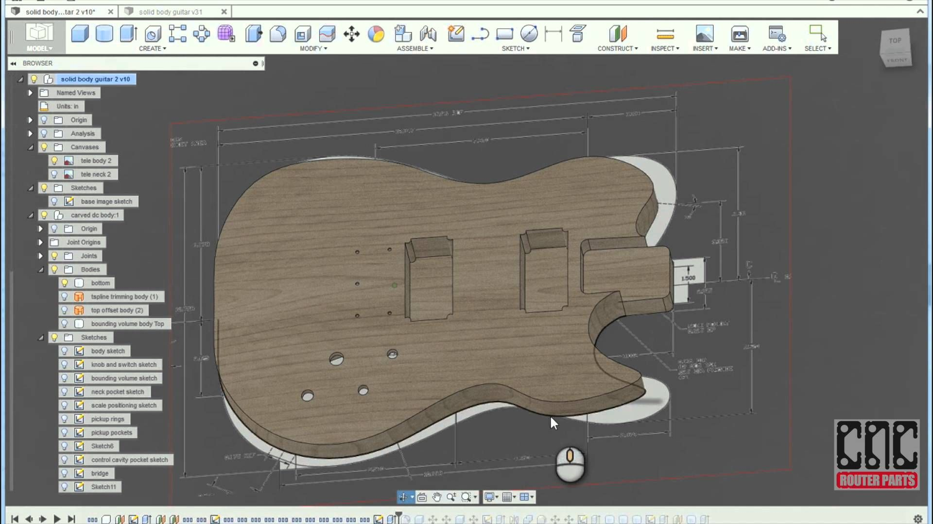 Customizing The 3d Sculpted Guitar Design In Fusion 360 Guitar Design Solidworks Guitar