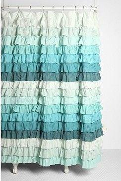 UrbanOutfitters Tonal Wave Ruffle Shower Curtain