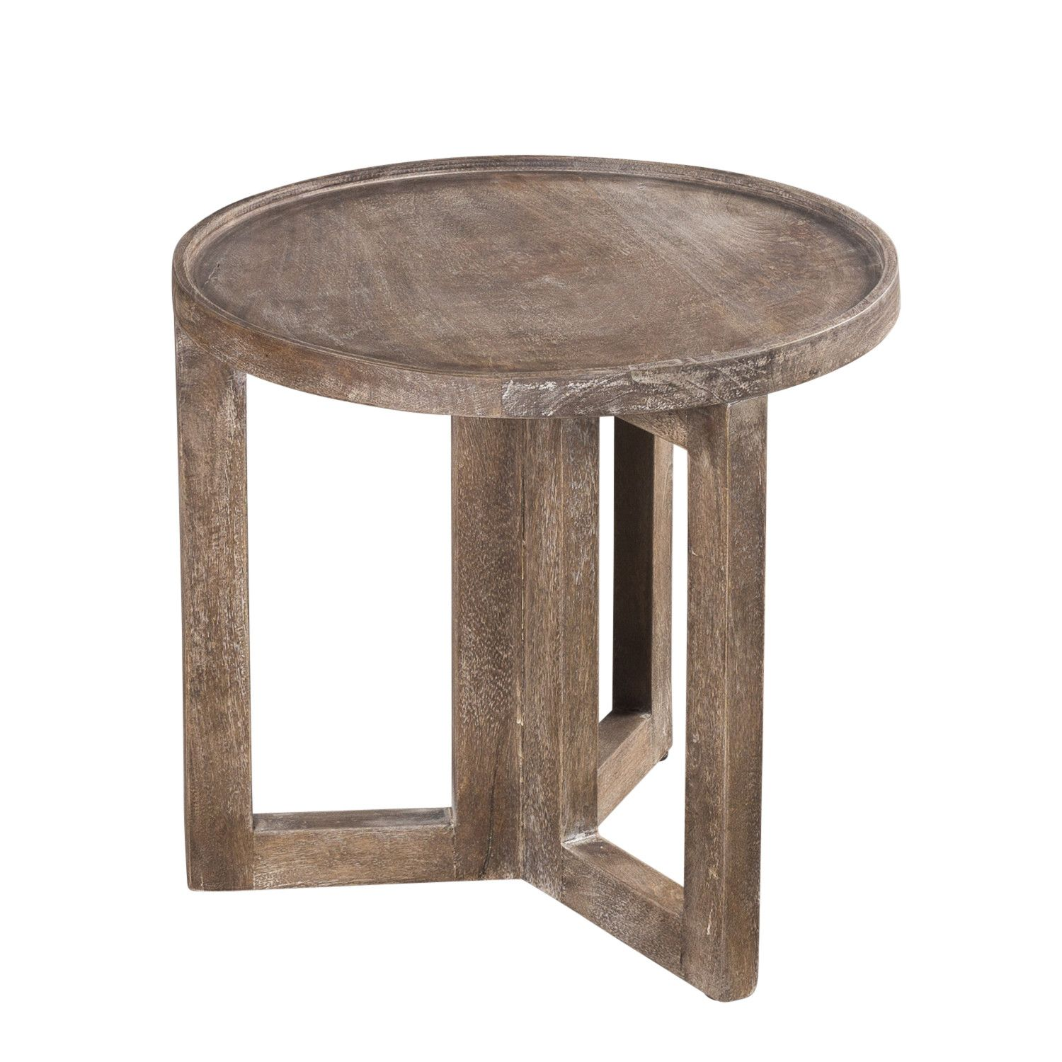Wildon home distressed modern round small side table