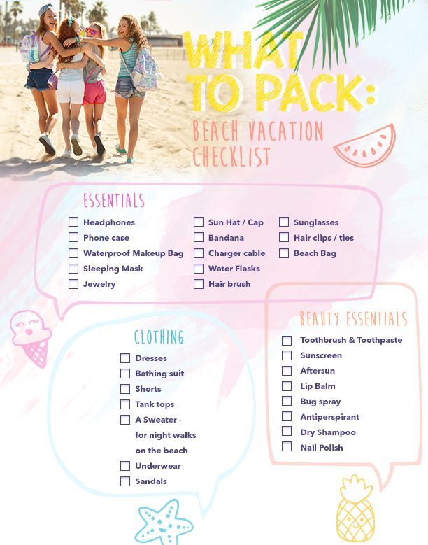 beach-vacay-pack-list-1 Travel Pinterest Pack list, Vacation - vacation checklist