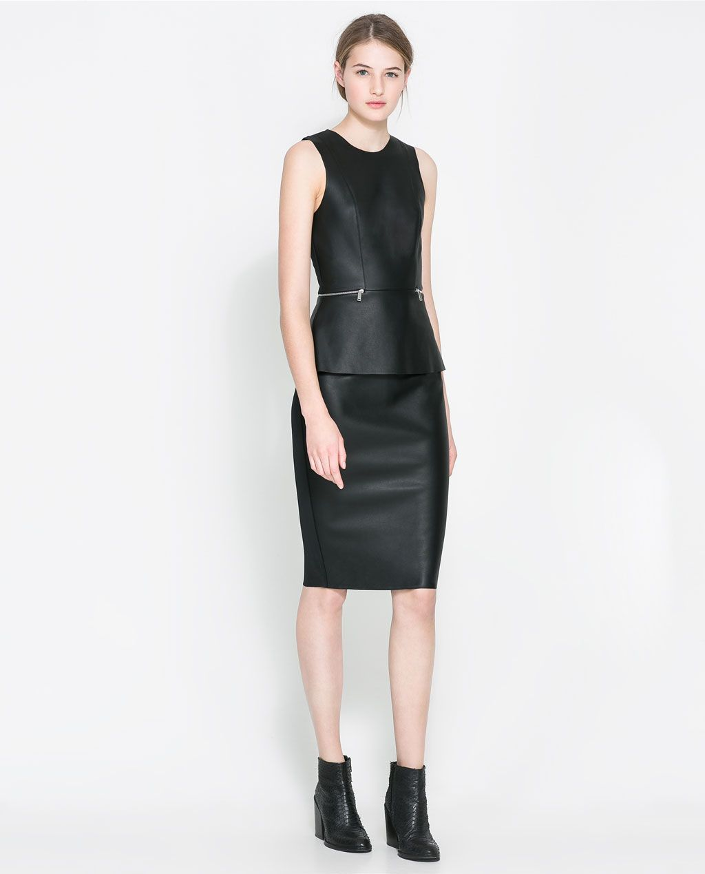 Faux leather peplum dress from zara style love pinterest