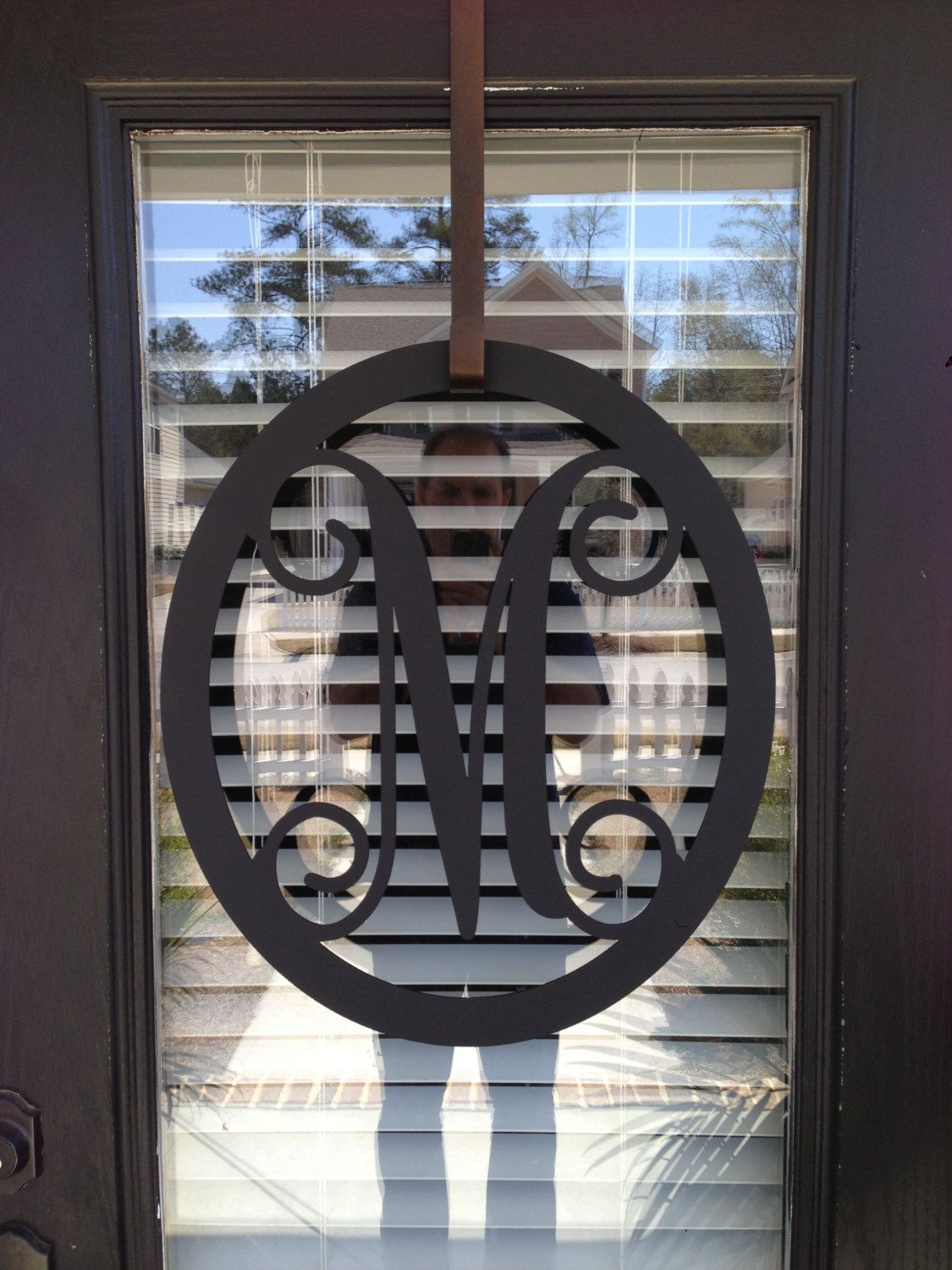 Metal monogram door hanger monogrammed metal wreath monogram door hangerwedding gift & Metal monogram door hanger monogrammed metal wreath monogram ... pezcame.com