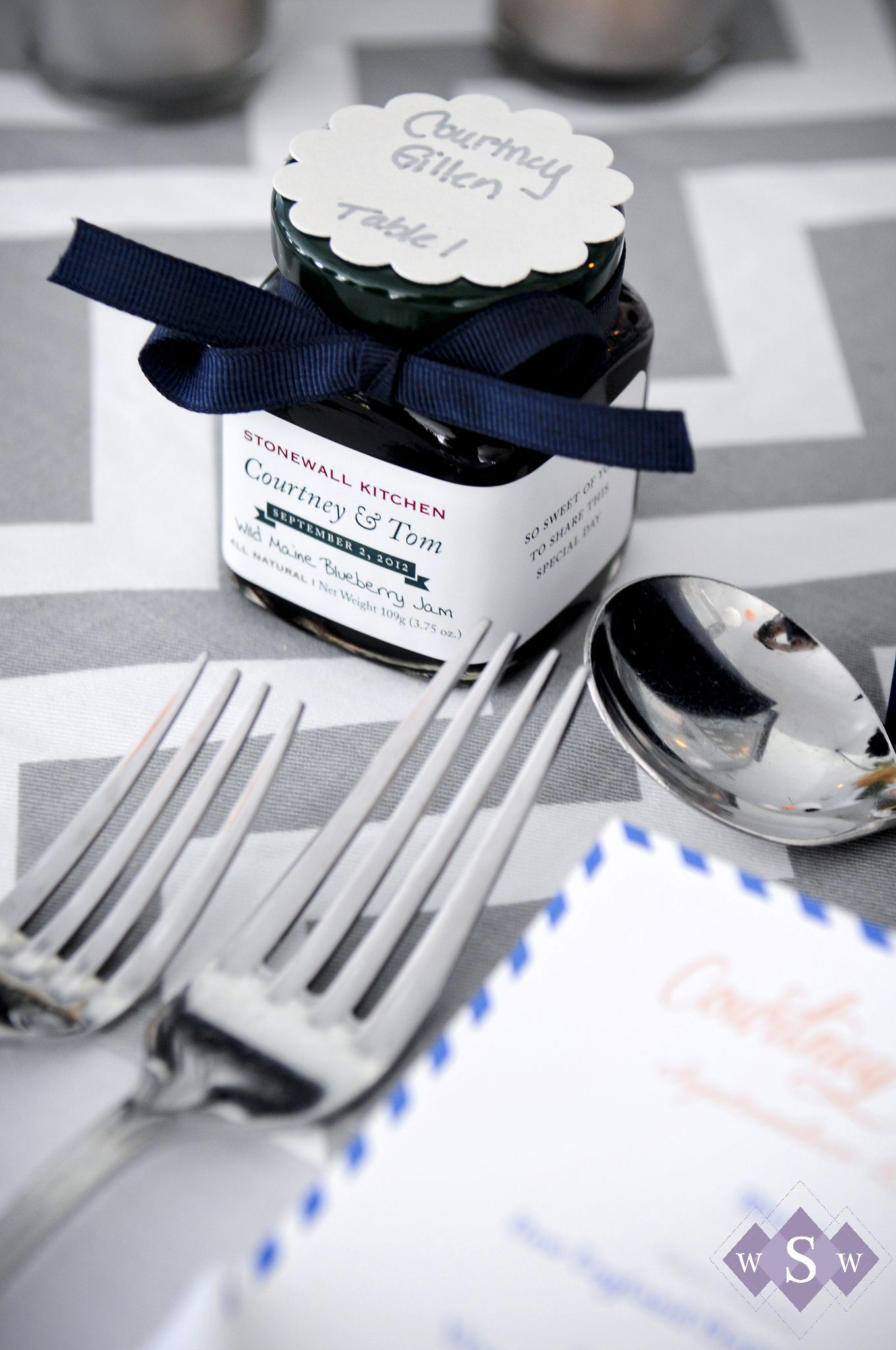 Blueberry jam wedding favors - Peaks Island Wedding - Inn at Peaks ...