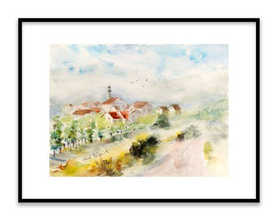 Original Watercolor French Village In Alsace With Houses Church