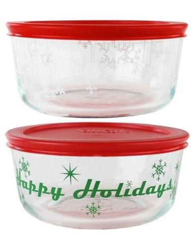 2 Pyrex 1 Qt Storage Bowls Happy Holidays Amp Snowflakes 4 Cup Red Green White New Pyrex Glassware Zep Pyrex Glassware Storage Bowls Glass Food Storage