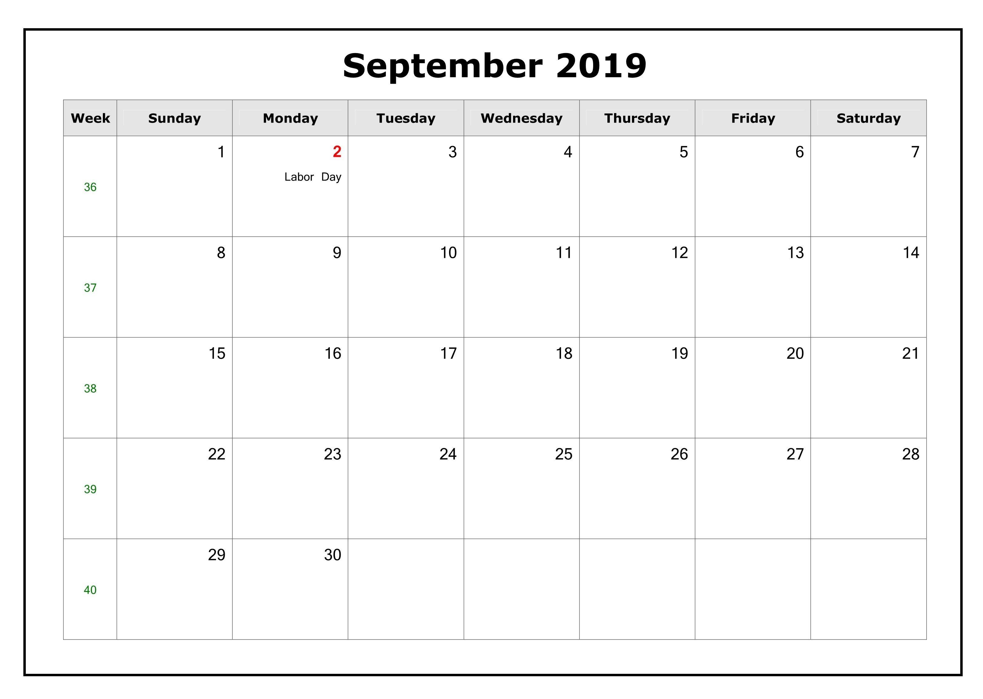 September 2019 Blank Calendar Pages For Excel, PDF, Word