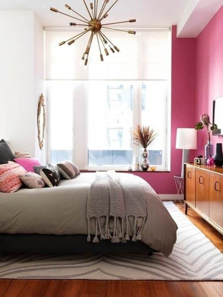 Bedroom Hot Pink Wall Color For Cherry Red Wooden Floor For Small