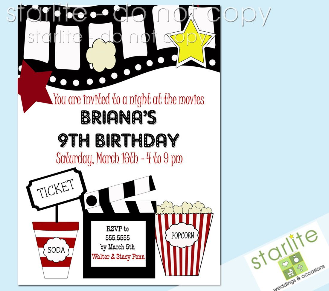 Birthday Party Invitation   Movie Theme   Night At The Movies   Style 2    Birthday  Birthday Invitation Templates Free Word