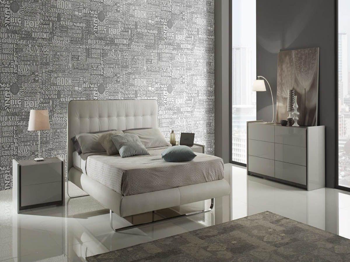 Modern Contemporary Fabric High Gloss Finish Grey Bedroom