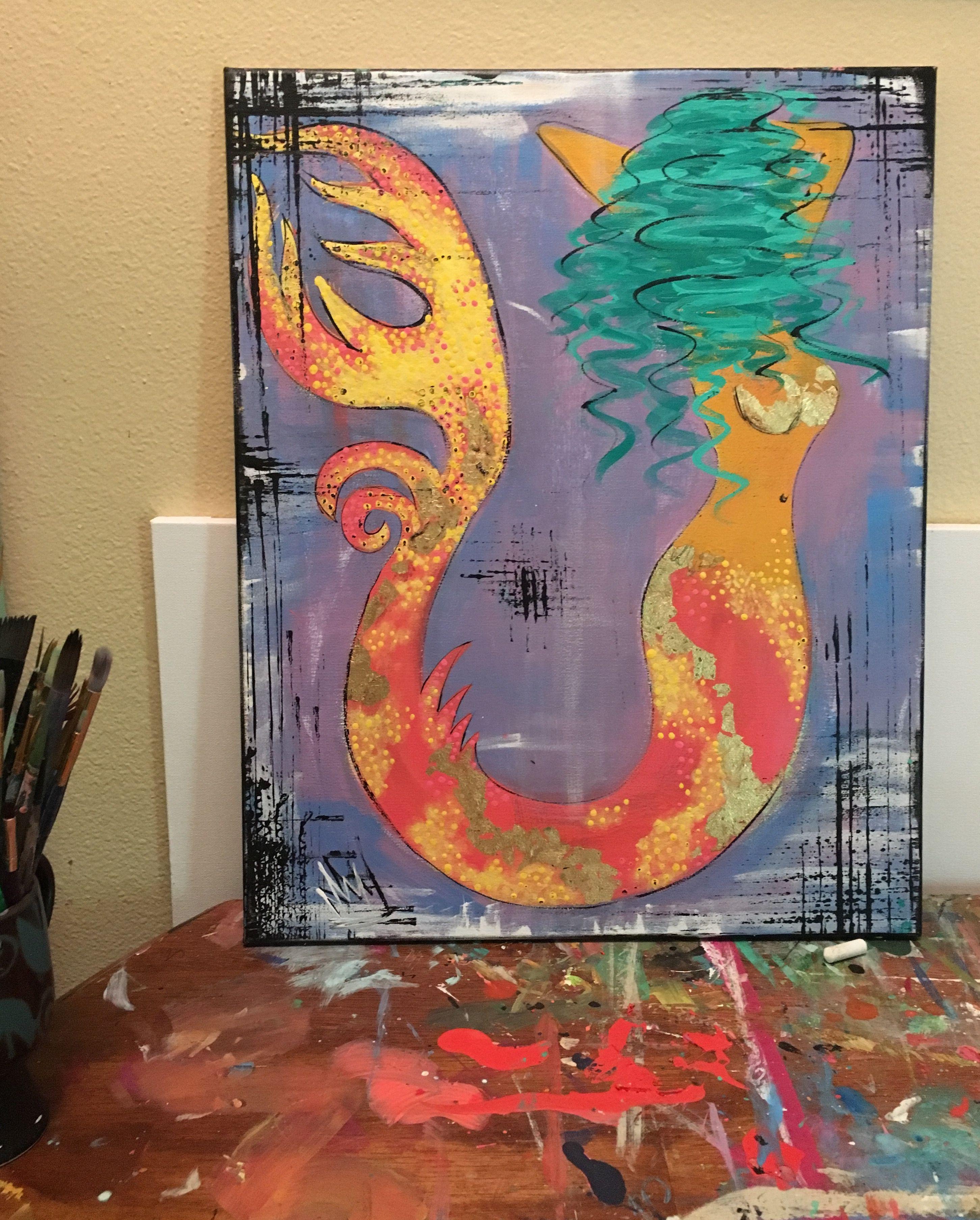 Mermaid. Painting. Art. Canvas. Acrylic. Abstract. Ocean