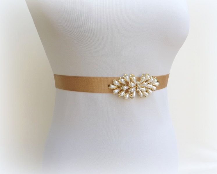 Gold elastic waist belt. Ivory pearls belt. Rhinestone belt. Dress belt. Brideal belt. Bridesmaids belt. Stretch belt. Pearls belt. by MissLaceWedding on Etsy