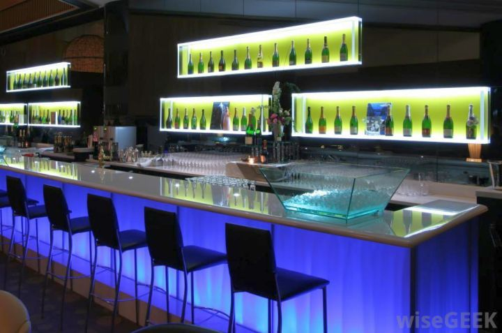 Beau Modern Home Bar Design With Blue Light