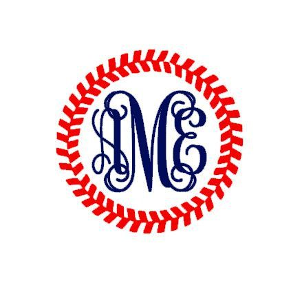 This baseball stitches monogram template is an instant DIGITAL DOWNLOAD file to be cut out with an electronic cutting machine that accepts one of the