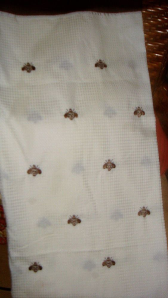Peri Chocolate Brown Ivory Embroidered French Bee Fabric Shower Curtain Waffle