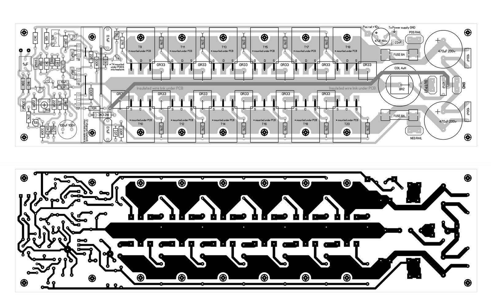 hight resolution of 600w mosfet power amplifier pcb design