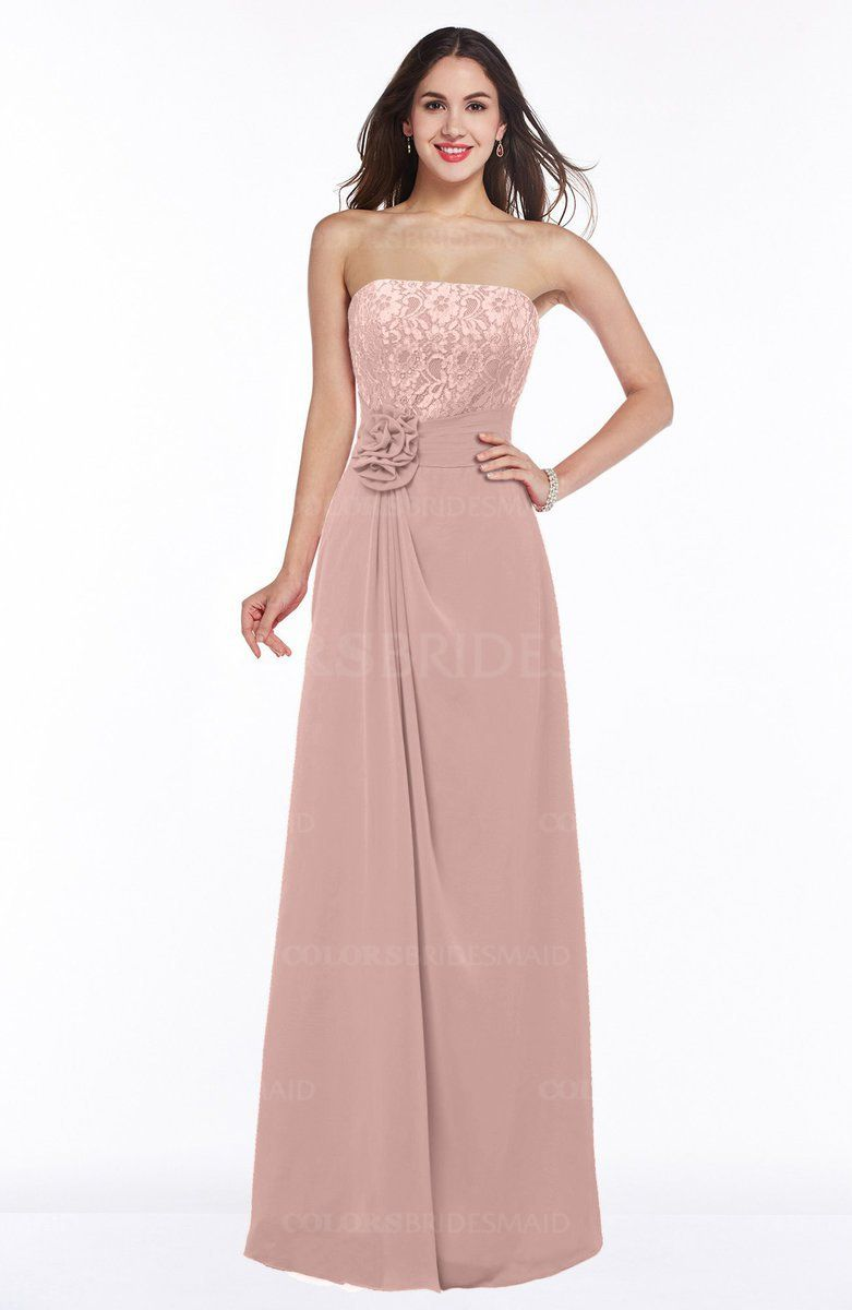 Dusty rose traditional aline strapless sleeveless half backless