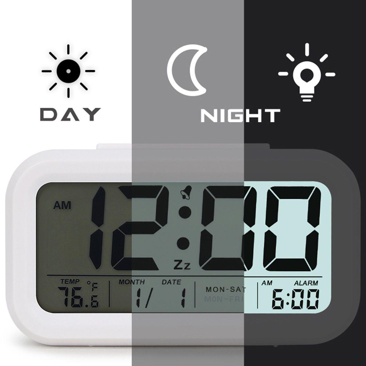 Digital Snooze Alarm Clock Backlight LED Table Clock Time Temperature Calendar E