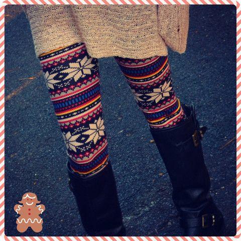 Jingle All The Way Winter Knit Fair Isle Leggings